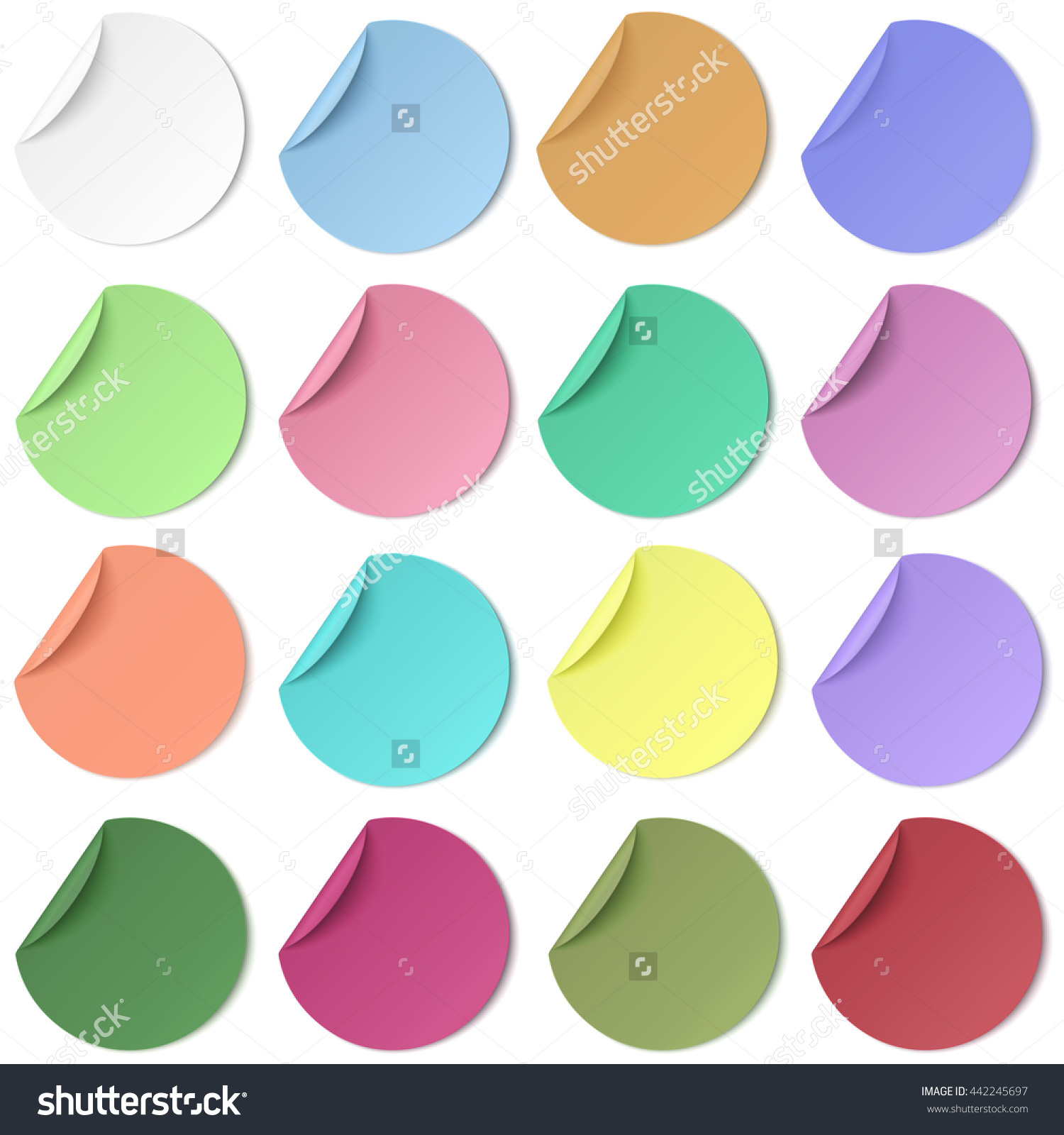 Set Of Pastel Color Round Paper Sticker With Edge Curl Isolated.
