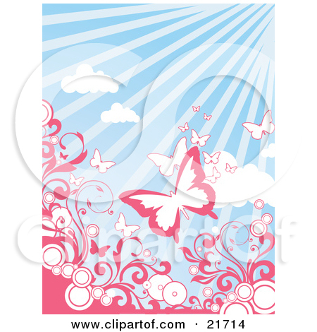 Nature Clipart Picture Illustration of Pink And White Butterflies.