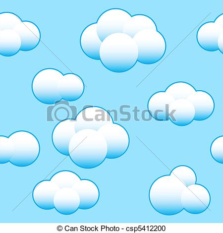 Vector Clipart of Abstract light blue sky background with white.