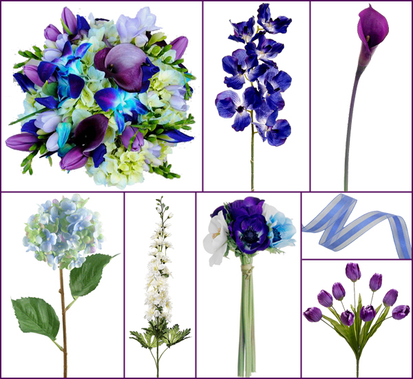 Green and purple orchids clipart.