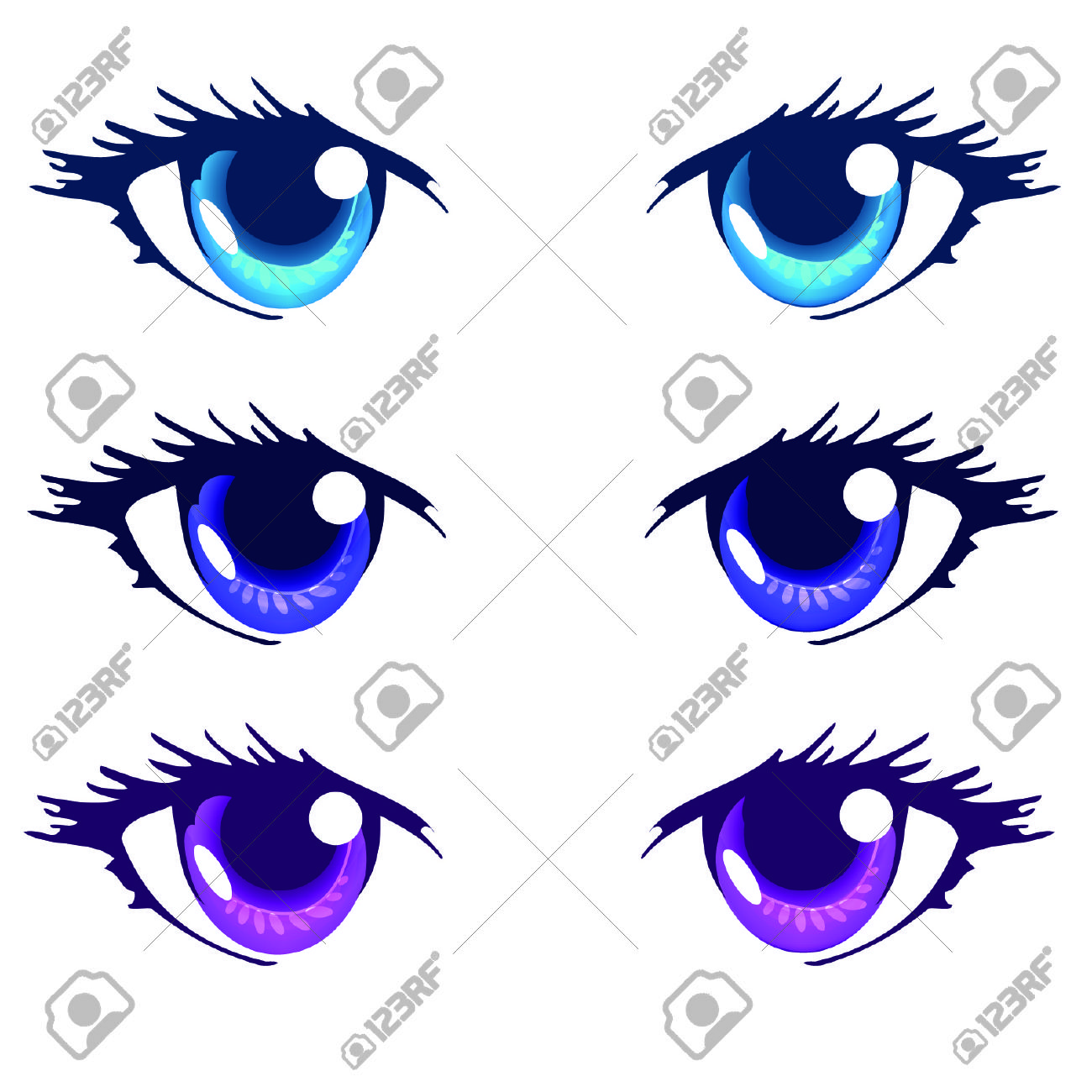 Light Blue Royal Blue And Purple Color Anime Eyes Royalty Free.