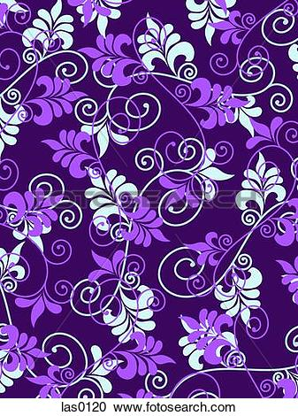 Stock Illustrations of Purple and light blue flowers and swirls on.