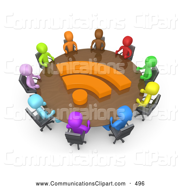 Communication Clipart of a Diverse Group of Office Business People.