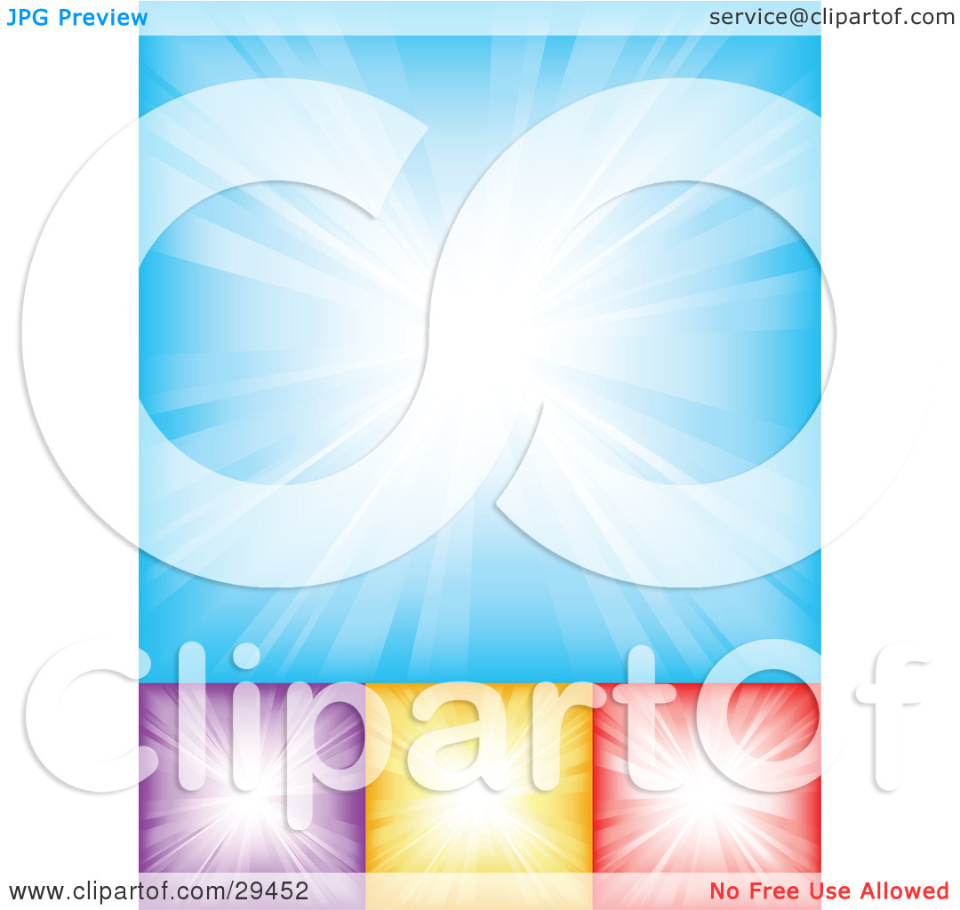 Clipart Illustration of a Set Of Blue, Purple, Yellow And Red.