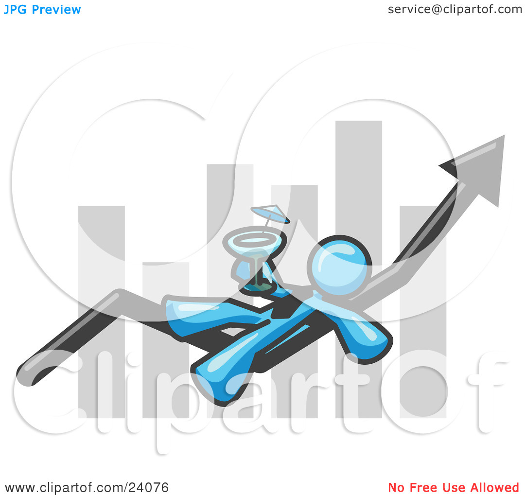 Clipart Illustration of a Light Blue Business Owner Man Relaxing.