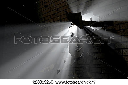 Stock Photography of Wall Break Through And Light k28859250.