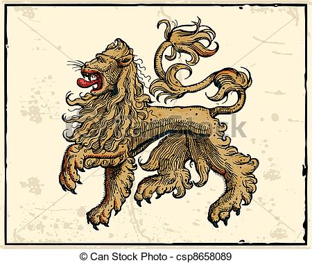 EPS Vectors of Heraldic lions isolated on light background.