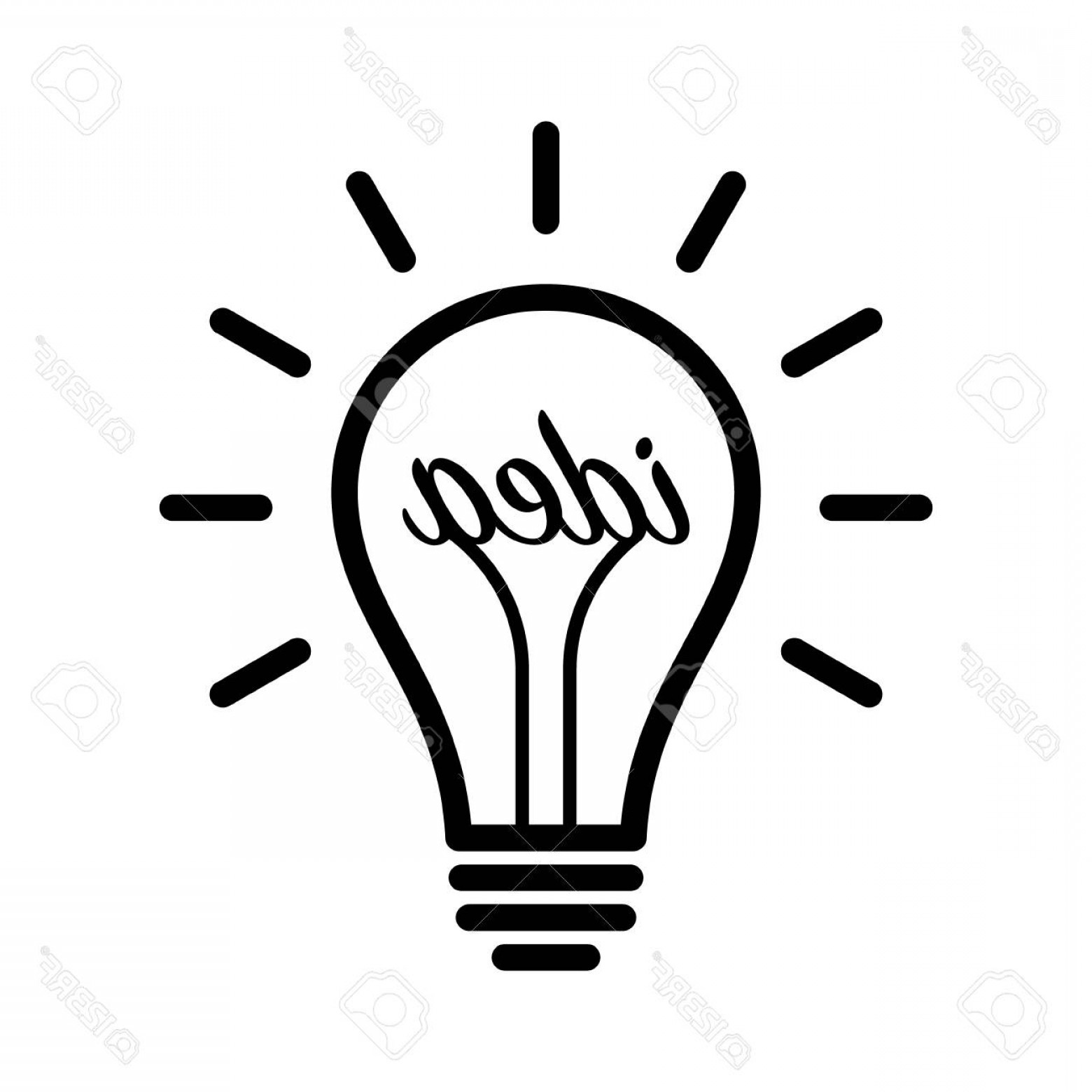 Idea Light Bulb Over Head Clip Art.