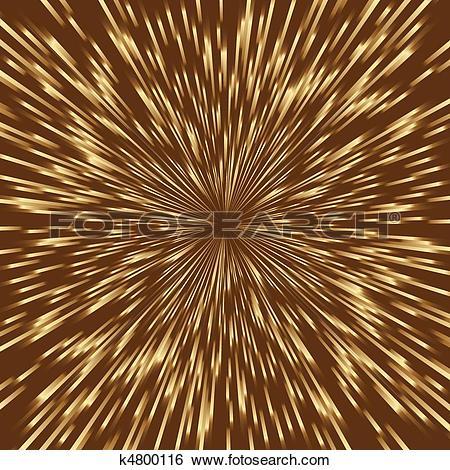 Clip Art of Stylized golden fireworks, light burst with the center.