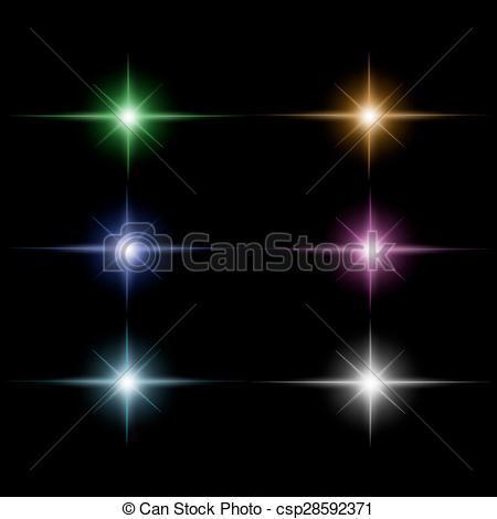 Vectors Illustration of set of Star burst light beam vector.