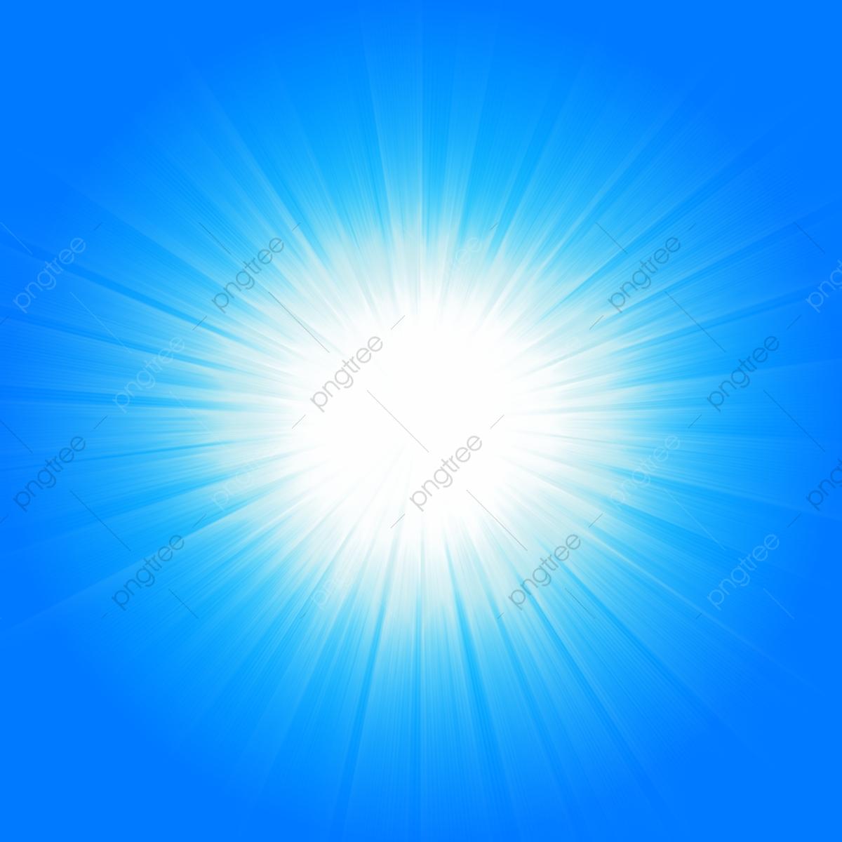 Blue Sun Light Burst, Blue, White, Sun PNG Transparent Image.