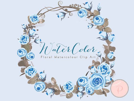 Blue Roses Watercolor, Light Blue Floral Wreath Clip art.