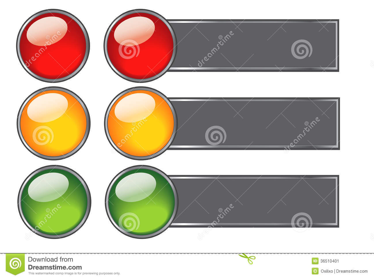 Buttons With Colours Of Traffic Light For Web Desi Stock Image.