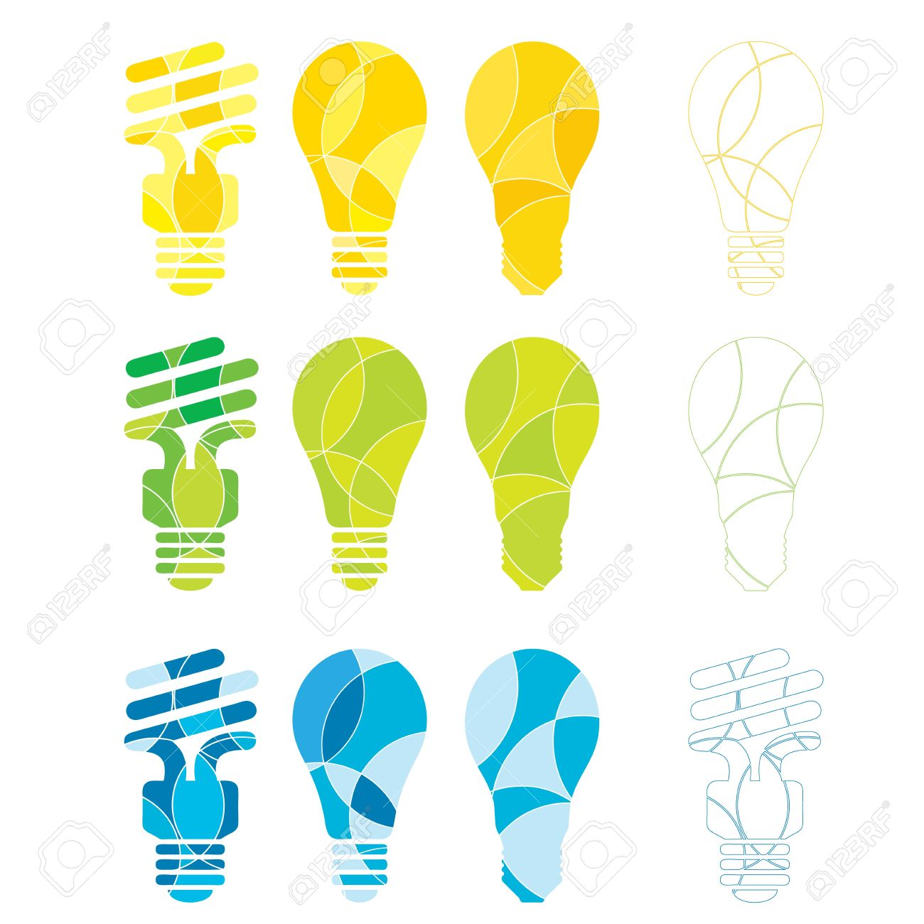 A Set Of Abstract Coloured Light Bulb Illustrations In Energy.