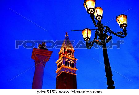 Stock Photo of street lamp, street light, column, pole, Las Vegas.