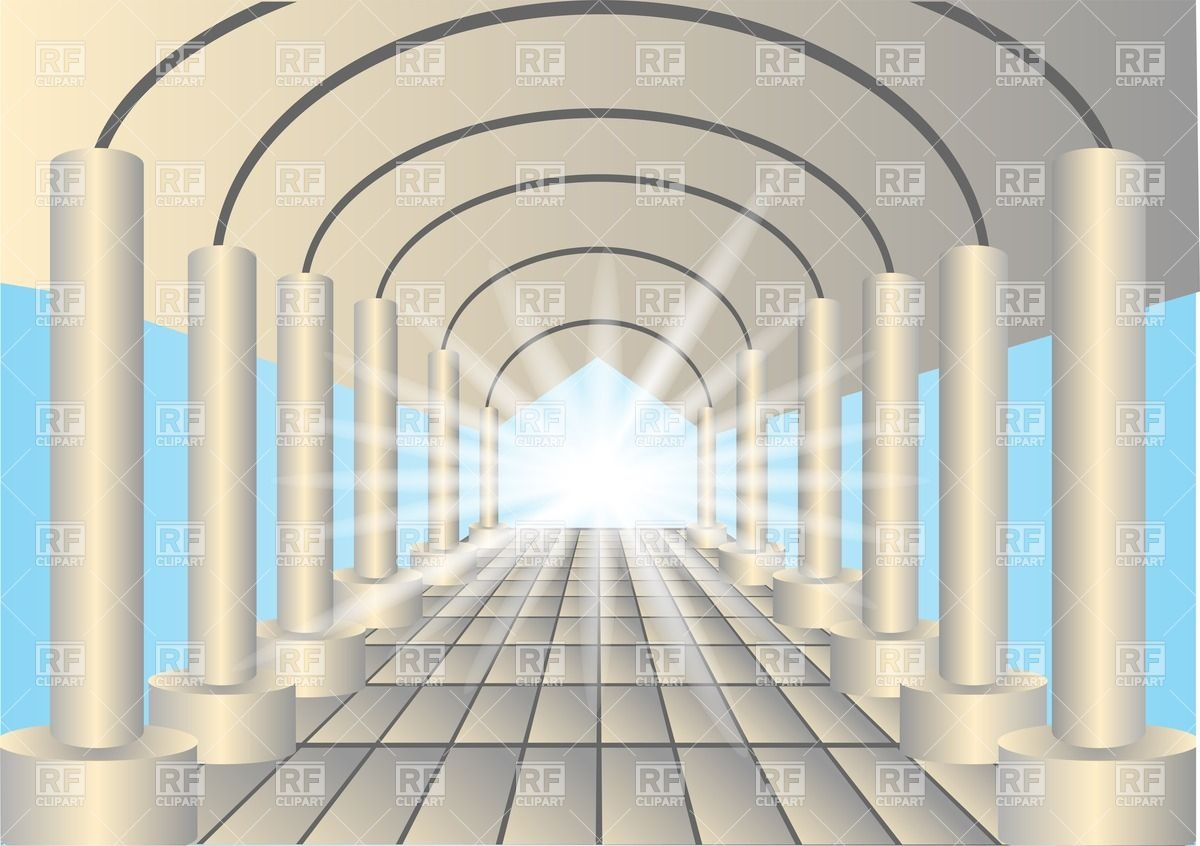 Light in the end of tunnel of columns Vector Image #25783.