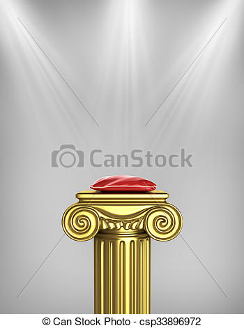 Stock Illustrations of Gold column pedestal with red pillow and.