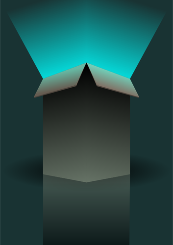 Vector clip art of light coming out of green box.