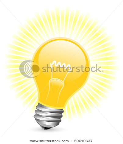 clipart illustration of light bulb with rays of light coming from it.