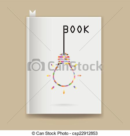 Clipart Vector of Creative light bulb Idea concept on blank book.