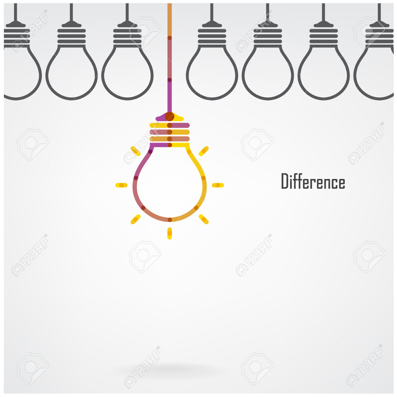 Creative Light Bulb Difference Idea Concept Background, Design.