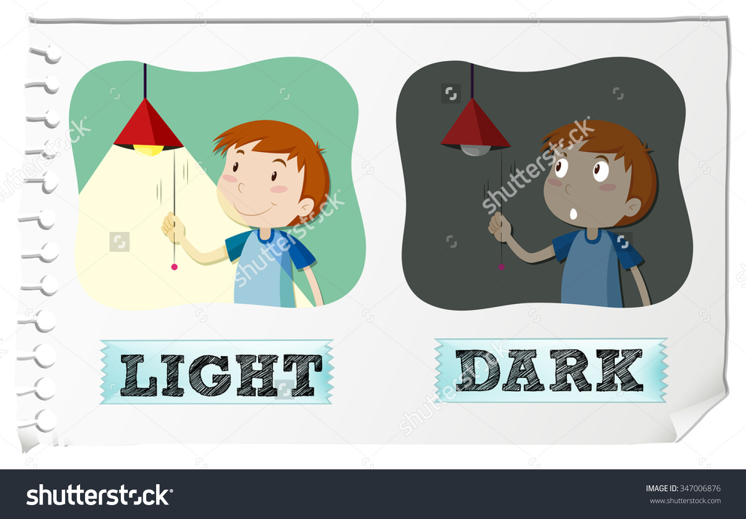 Opposite Adjectives Light Dark Illustration Stock Vector 347006876.