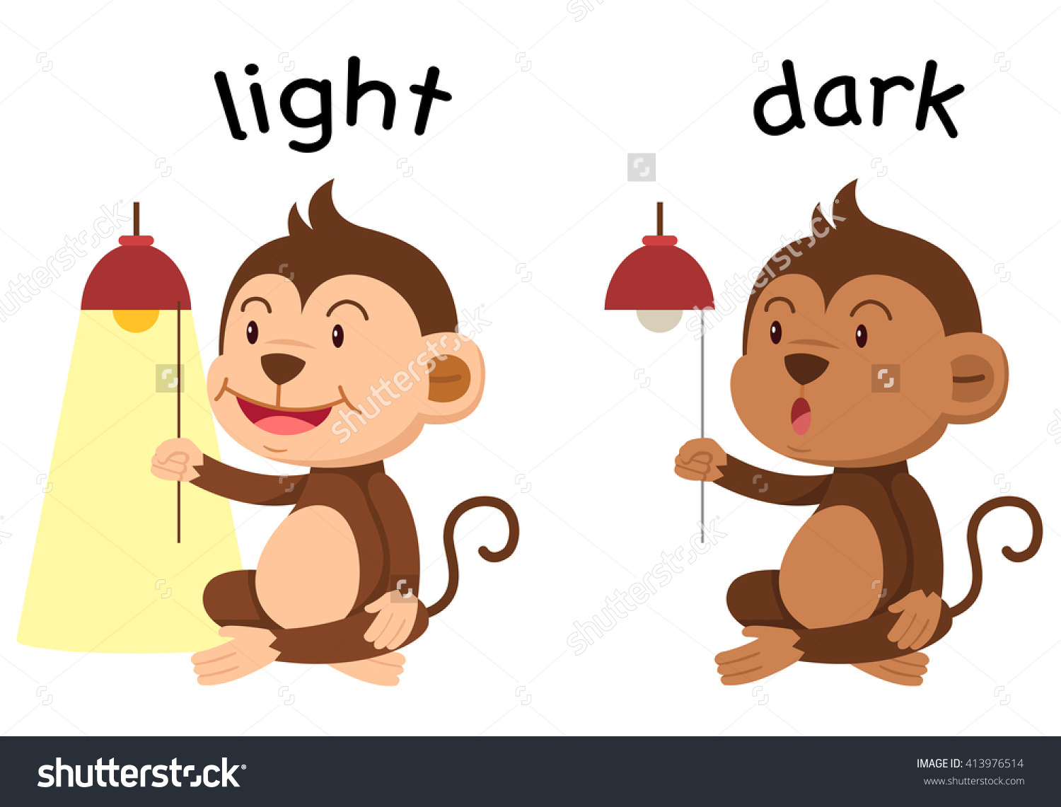 Opposite Words Light Dark Vector Illustration Stock Vector.