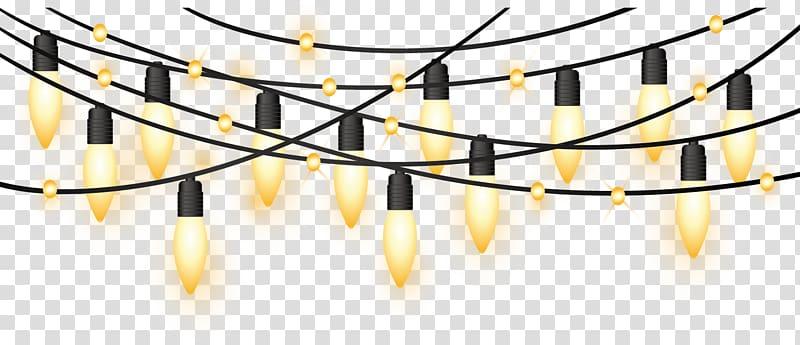 Lighted string lights, Christmas lights , Yellow light.