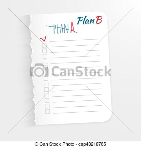Clip Art Vector of White sheet with the inscription corrected plan.
