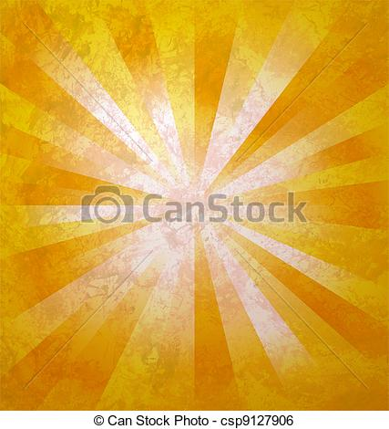 Stock Illustration of yellow rays of light from center to the.