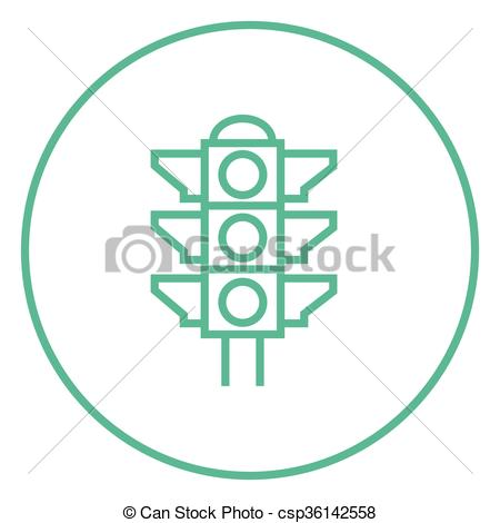 Clipart Vector of Traffic light line icon..