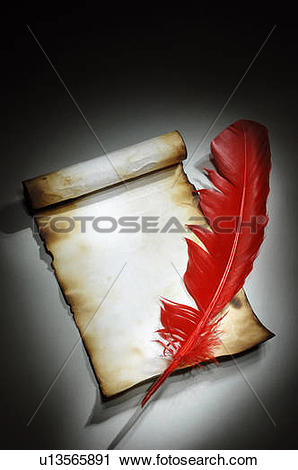 Stock Photography of Vintage parchment with burnt edges and a red.