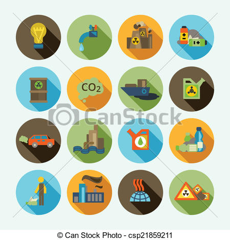 Vector Clip Art of Pollution Icons Set.