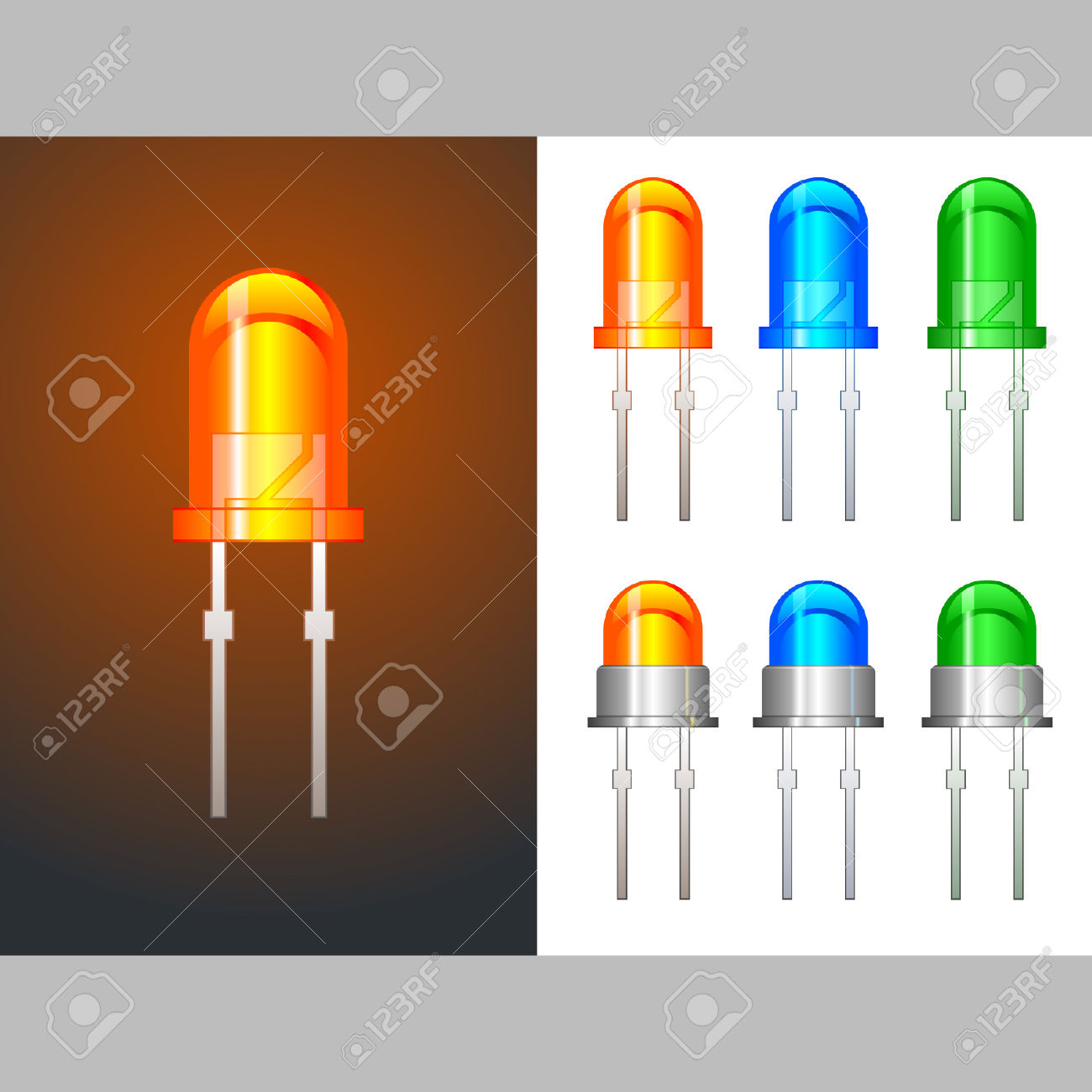 Six Colored Light Emitting Diodes In Glass And Metallic Variants.
