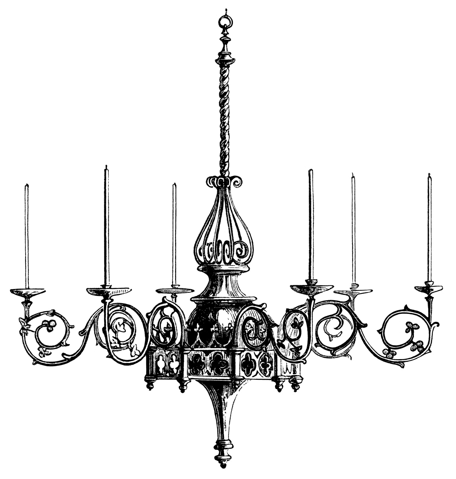 Victorian chandelier illustration, black and white graphics.