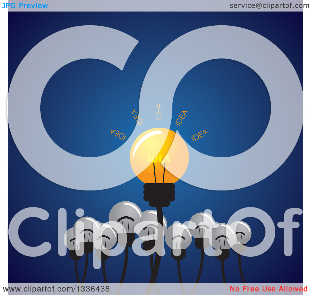 Clipart of a Shining Idea Light Bulb with Plain Ones Below over.