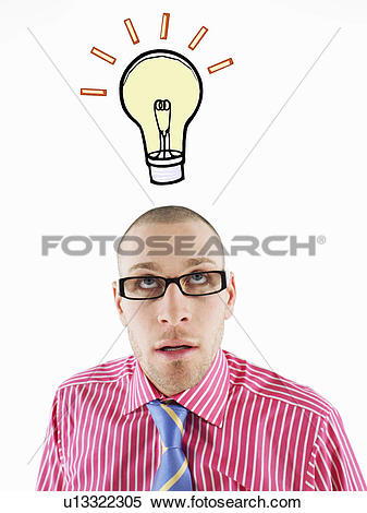 Stock Image of Man in glasses looking up, head and shoulders.