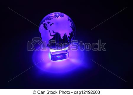 Stock Photography of Small glass globe at glass stand is.