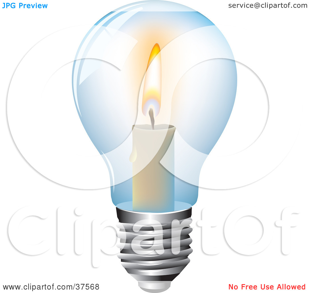 Clipart Illustration of a Burning Candle Inside A Clear Glass.