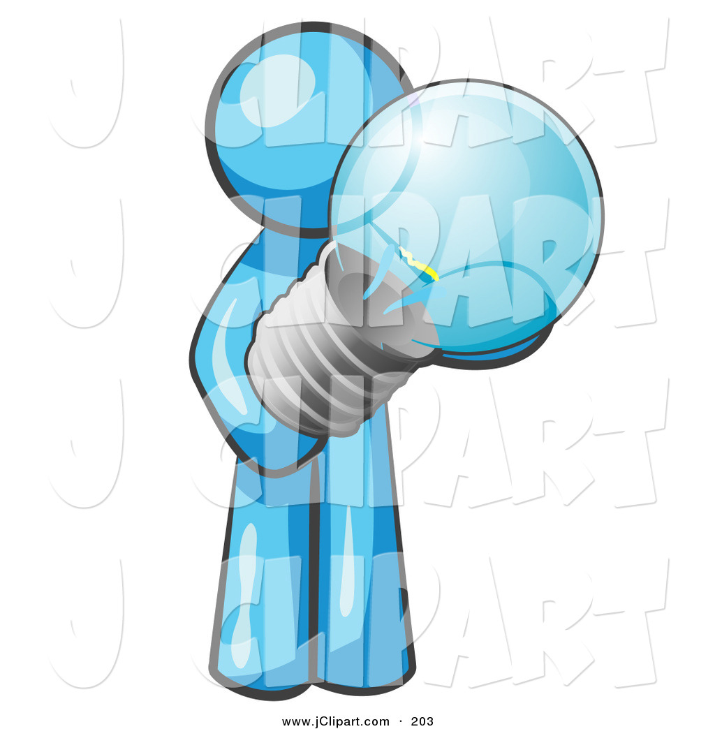 Vector Clip Art of a Light Blue Man Holding a Glass Electric.