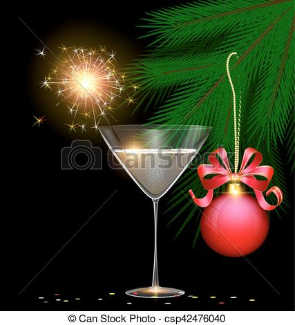 EPS Vector of light glass, tree and sparkler.