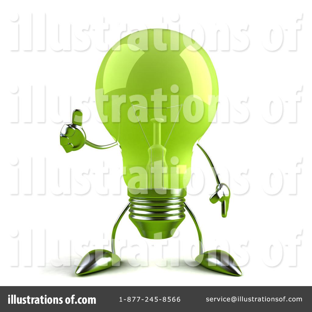 Glass Light Bulb Character Clipart #55219.