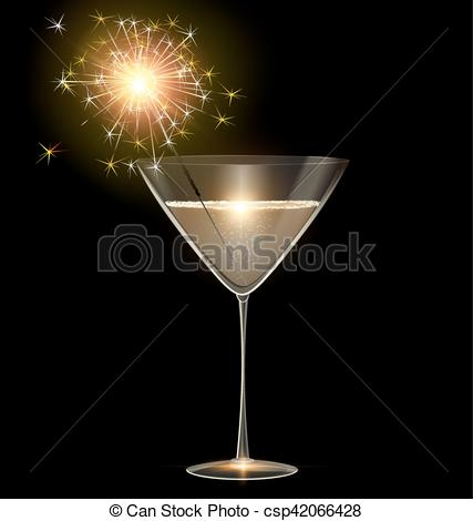 Vector Illustration of light glass of champagne and sparkler.