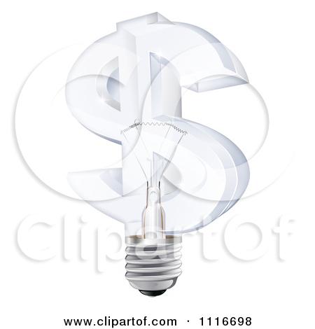 Vector Clipart 3d Glass Dollar Symbol Light Bulb.