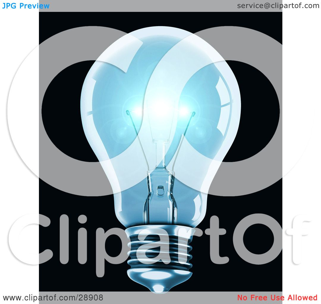 Clipart Illustration of a Clear Blue Light Bulb Shining Brightly.