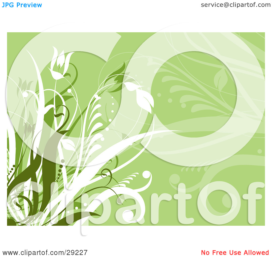 Clipart Illustration of a Light Green Background With Green And.