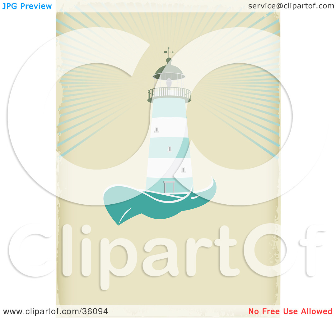 Clipart Illustration of a Green And White Lighthouse Casting Light.
