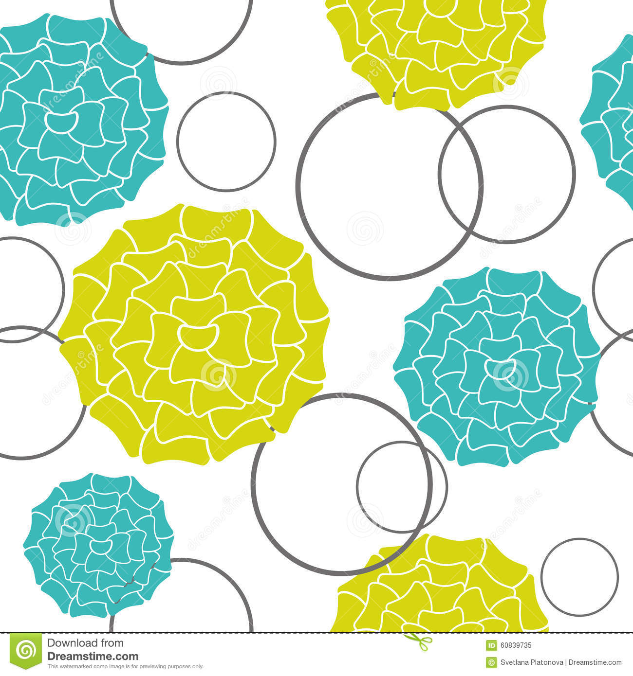 Seamless Wallpaper Flowers Light Green And Blue On A White Backg.