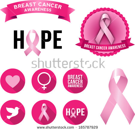 Vector Breast Cancer Awareness Ribbons Badges Stock Vector.