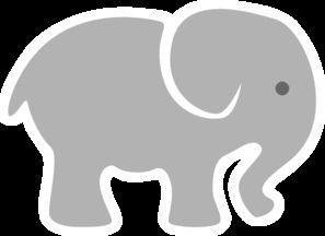 Light Grey Baby Elephant clip art.